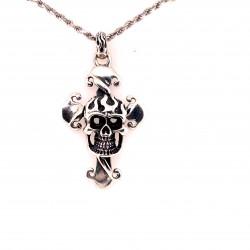 Přívěsek  stříbrný  - Lebka kříž Inri