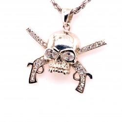 Přívěsek  stříbrný  - Lebka pirát bíle zirkony zkřížené pistole
