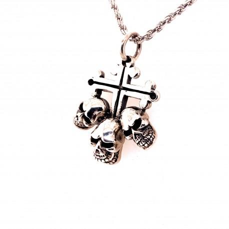 Přívěsek  stříbrný  - Kříž tři lebky