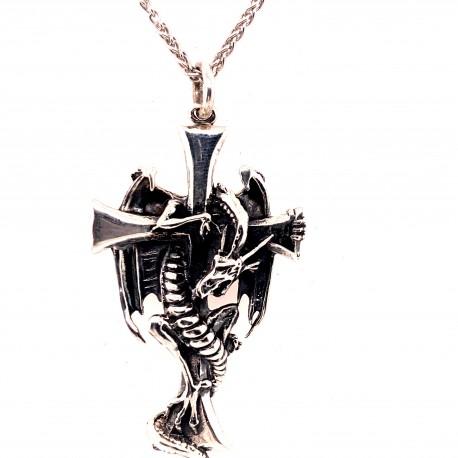 Přívěsek  stříbrný  - Drak okolo kříže