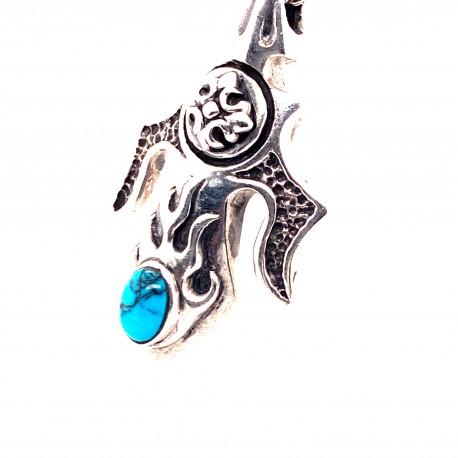 Přívěsek  stříbrný  - Keltský trojzubec s tyrkysem