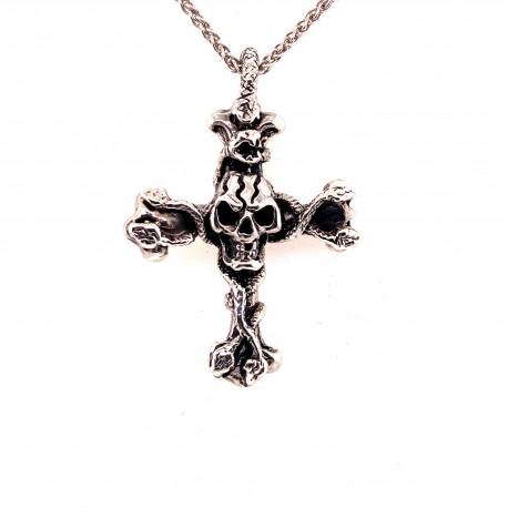 Přívěsek  stříbrný  - Kříž lebka s hady