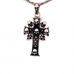 Přívěsek  stříbrný  - Kříž lebkový