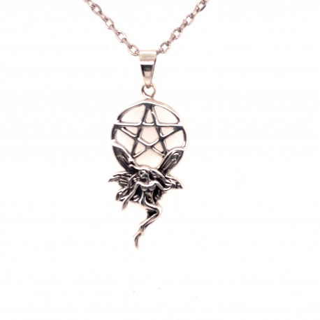 Přívěsek  stříbrný  - Pentagram elfí víla