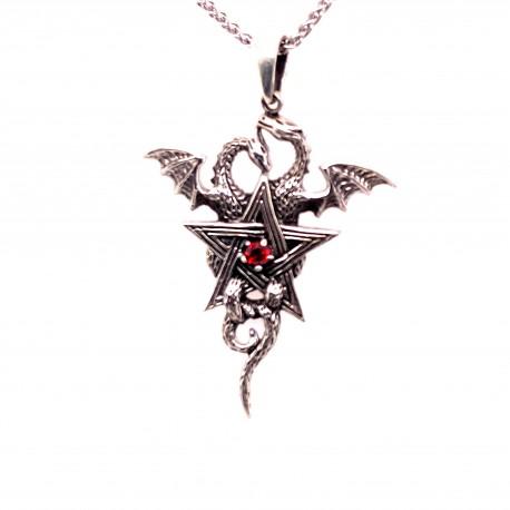 Přívěsek  stříbrný  - Pentagram dračí